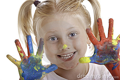 Cute girl has painted hands