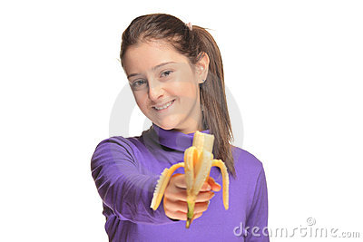 Cute girl holding a banana