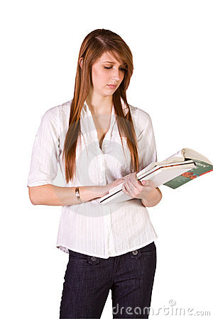 Cute Girl Holding Books and Magazine