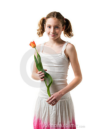 Cute girl holding a flower