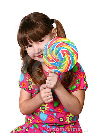 Cute Girl Holding Large Lollipop