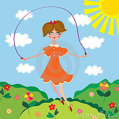 Cute girl jumping with the skipping-rope