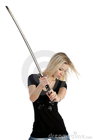 Cute girl with katana