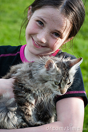 Cute girl with kitten