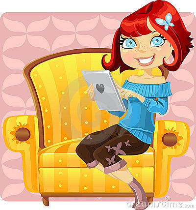 Cute girl with a laptop in a yellow armchair