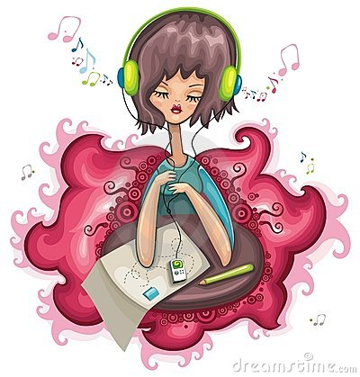 Cute girl is listening music.