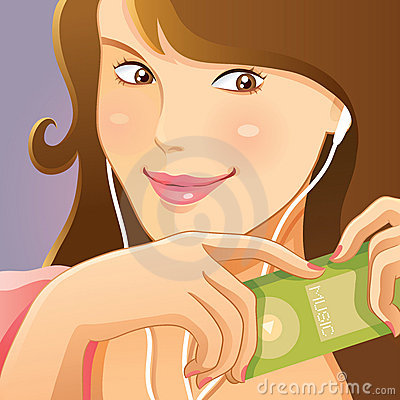Cute Girl Listening Music