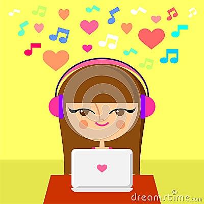 Cute girl listening to music