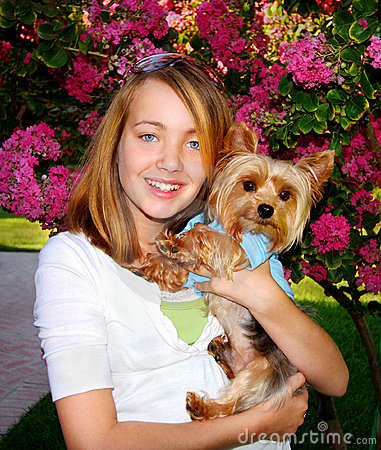 Cute Girl And Little Dog