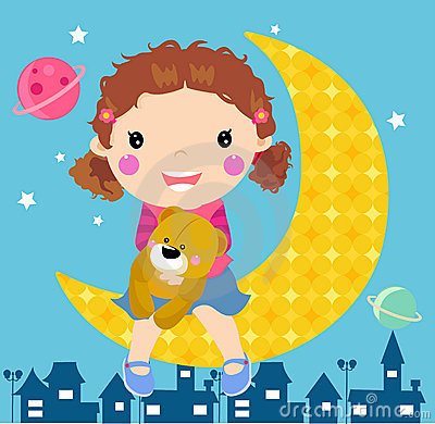Cute girl and moon