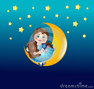Cute girl on moon