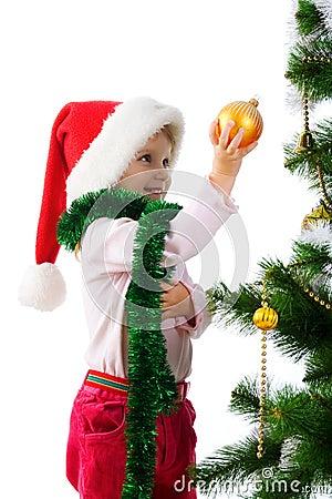 Cute girl near the christmas tree