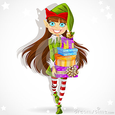 Cute girl the New Years elf Santas assistant