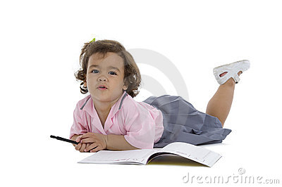 Cute girl with notebook and pen