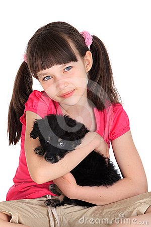 Cute girl with pet dog