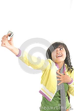 Cute girl photograph her self