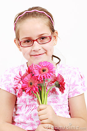 Cute girl in pink with flowers