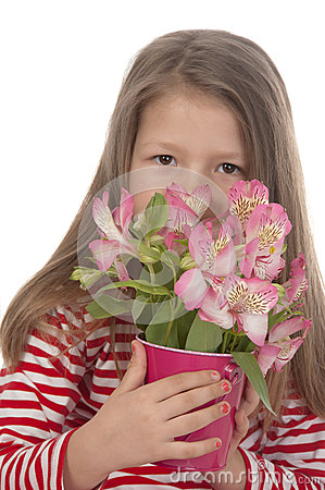 Cute girl with pink flowers