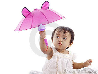 Cute girl with pink umbrella