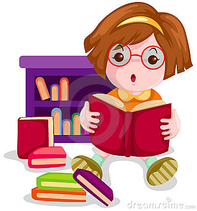 Cute girl reading book