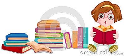 Cute girl reading book Vector Illustration