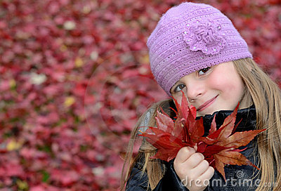 Cute girl with red maple list