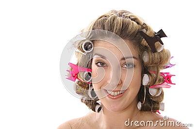 Cute girl in rollers