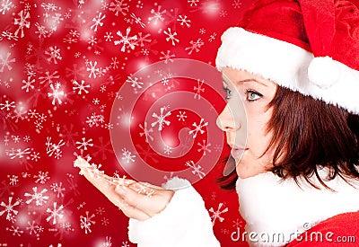 Cute girl in santa claus cloth