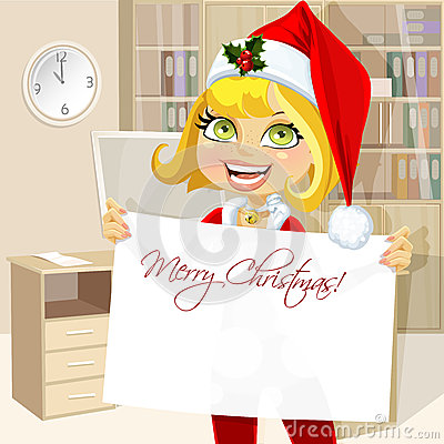 Cute girl in Santa suit hold blank Christmas banne