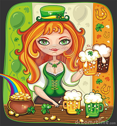 Cute girl serving  Saint Patrick s Day