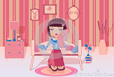 Cute girl sitting alone in her room