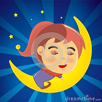 Cute girl sleeping on the moon