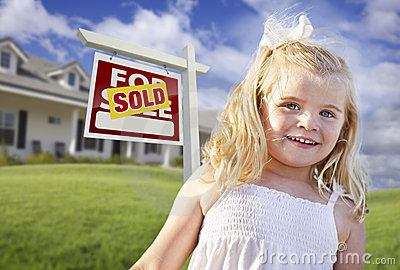 Cute Girl Sold Real Estate Sign, House