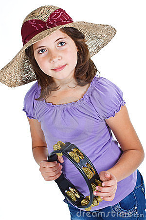 Cute girl with straw hat and tambourine