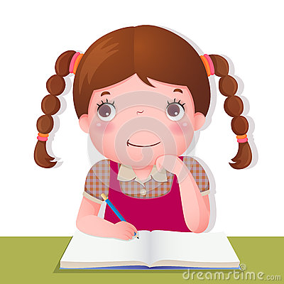 Free Cute Girl Thinking While Working On Her School Project Royalty Free Stock Photos - 56906028