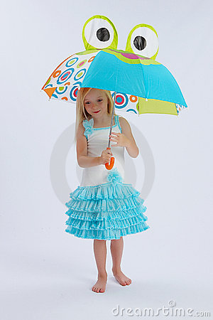 Cute girl under umbrella
