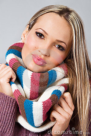 Cute girl in warm scarf
