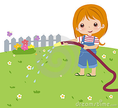 Cute girl watering flower