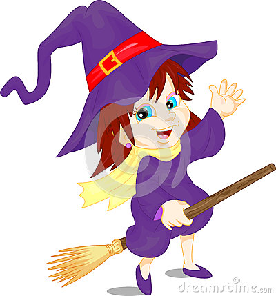 Cute girl wearing Halloween Witch and Broomstick costume Vector Illustration