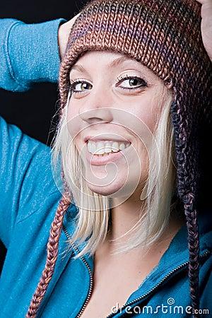 Cute girl wearing knit hat