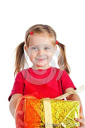 Cute girl wih the gift