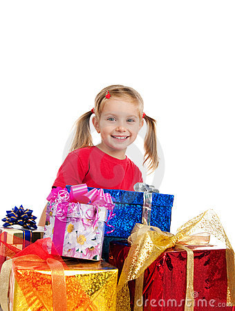 Cute girl wih the gifts