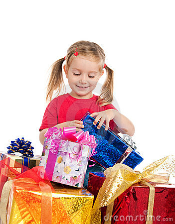 Cute girl wih the presents