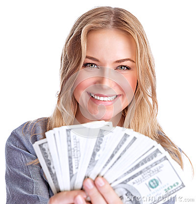 Free Cute Girl Winning Money Royalty Free Stock Photo - 39881295