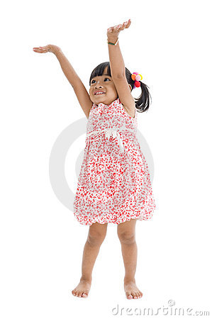 Free Cute Girl With Arms Up Royalty Free Stock Photography - 17331697