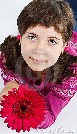 Free Cute Girl With Flower Stock Photography - 22821512