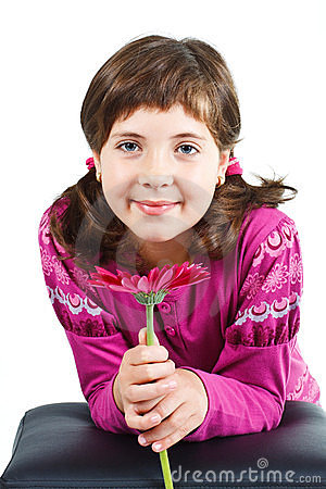 Free Cute Girl With Flower Royalty Free Stock Images - 23387009