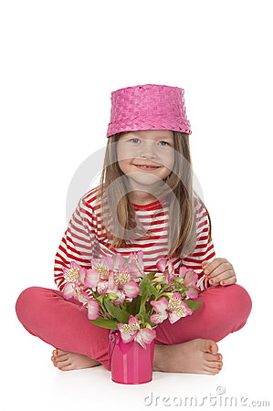 Free Cute Girl With Pink Flowers Royalty Free Stock Images - 24940439