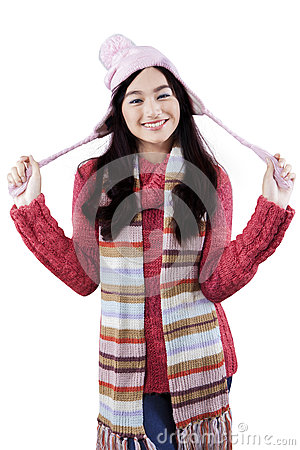 Free Cute Girl With Winter Fashion At The Studio Royalty Free Stock Photography - 47456477