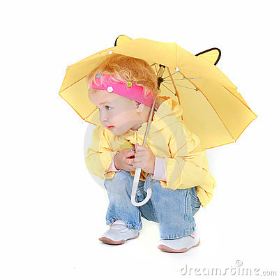 Free Cute Girl With Yellow Umbrella Stock Photography - 11392662